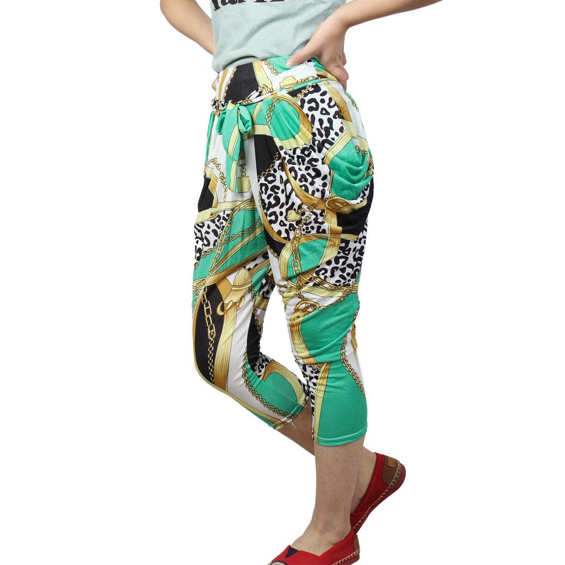 Women Elastic Waist Beige Chain Pattern Summer Casual Capris Pants XS