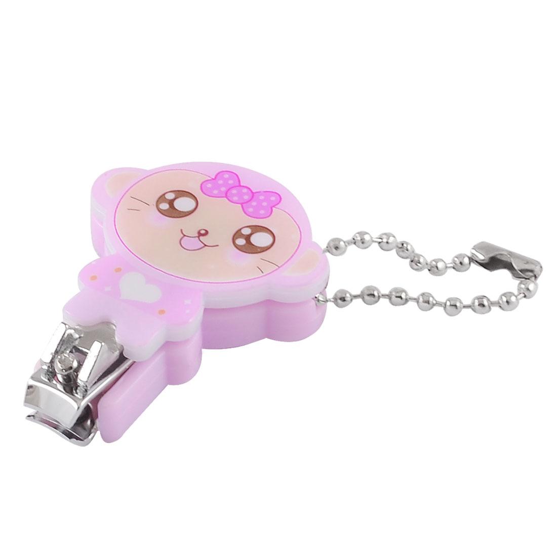 Mini Bow Detail Monkey Design Pink Plastic Metal Nail Toe Clipper w Key Ring