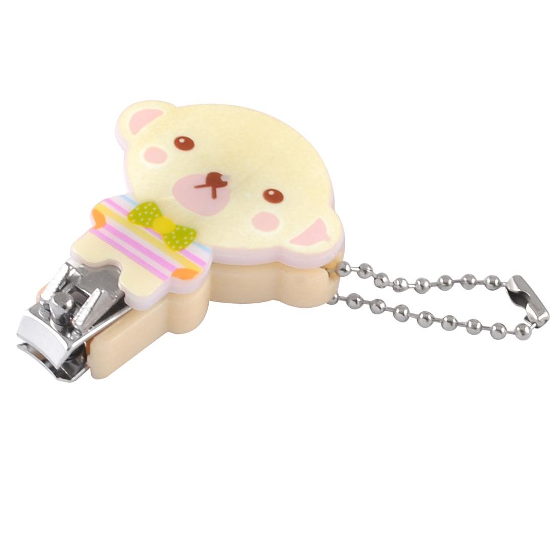 Mini Cartoon Bear Design Peachpuff Plastic Metal Nail Toe Clipper w Key Ring