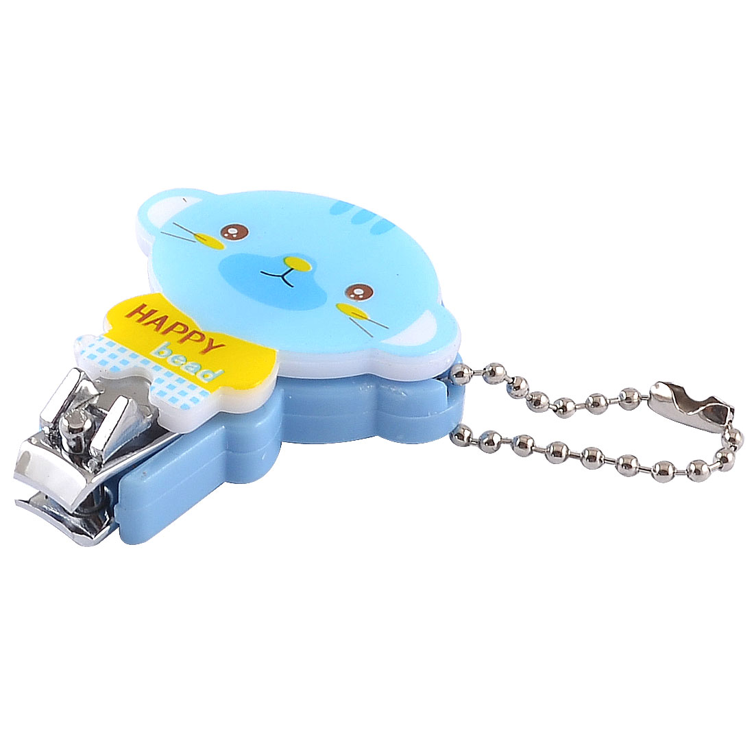 Mini Cartoon Tiger Design Blue Plastic Metal Nail Toe Clipper w Key Ring