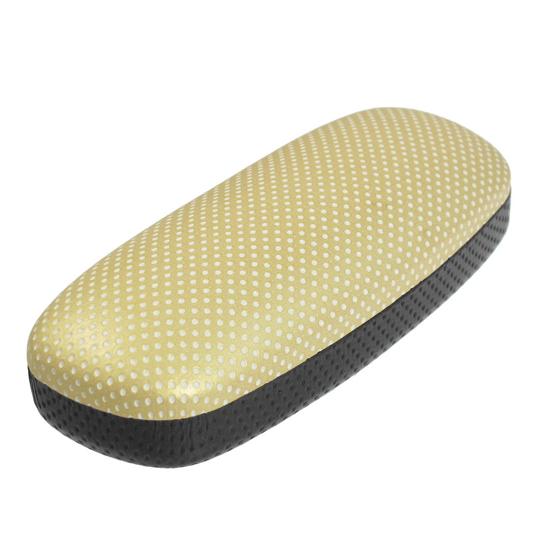 Dots Pattern Flannel Lining Rectangle Glasses Case Box Holder Beige Black