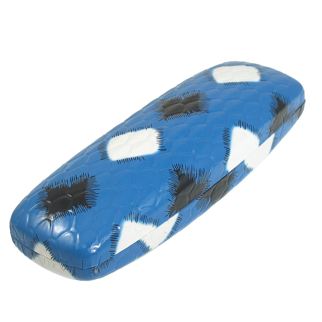 Blue Faux Leather Flannel Lining Rhombus Pattern Eyeglasses Protector Case