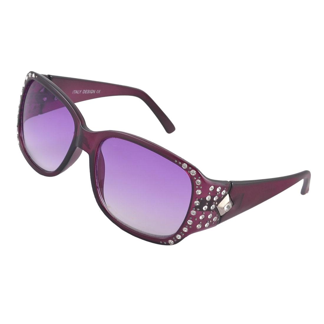 Lady Rhinestone Detail Purple Plastic Full Rim Rectangle Shape Lens Sunglasses