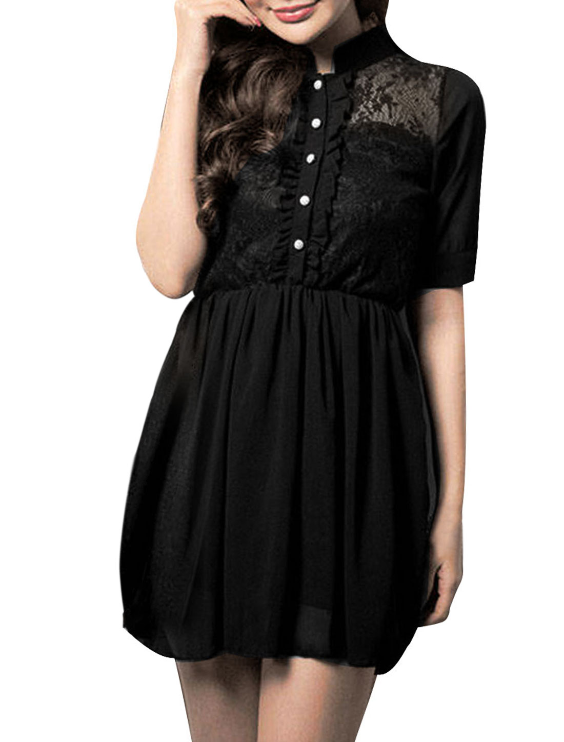 Ladies Black Stand Collar Button Closure Upper Lace Panel Dress XS
