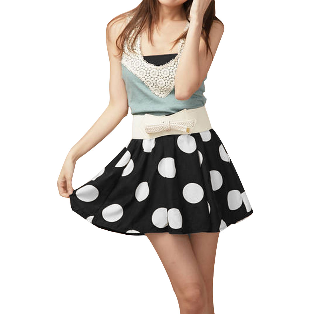 Ladies Elastic Waist White Dots Prints Drape Black Mini Skirt XS