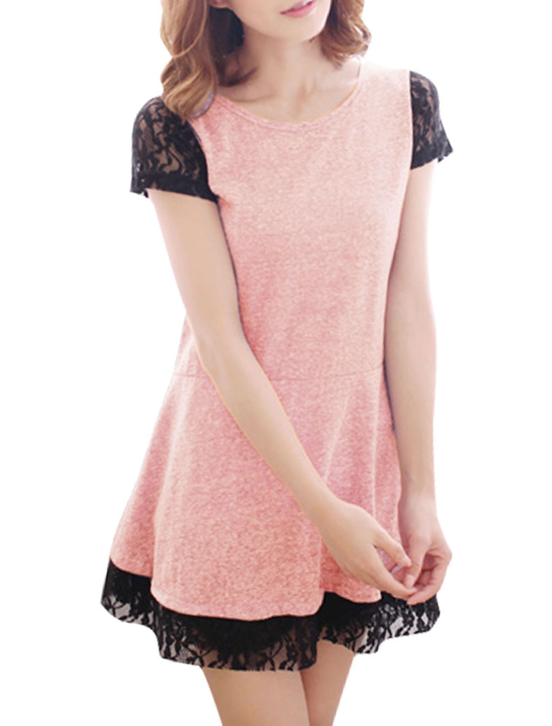 Women Round Neck Pullover Short Sleeve Crochet Lace Decor Panel Dress Pink XS