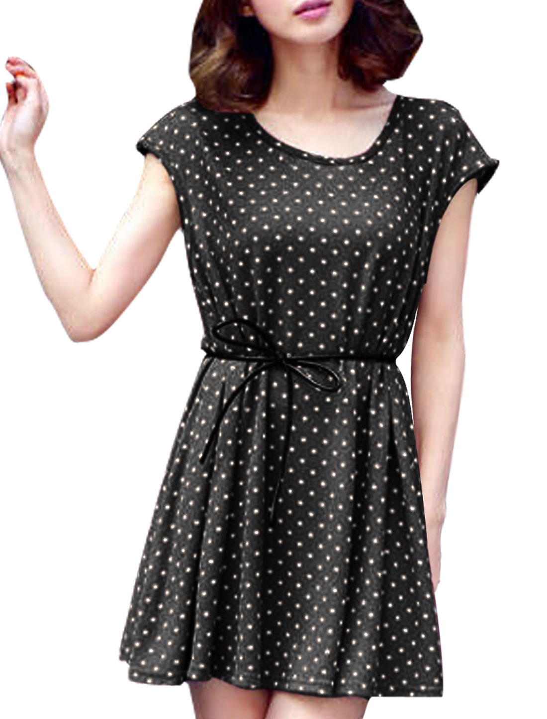 Women Round Neck Pullover Sleeveless Dots Belted Stretchy Casual Dress Black XS