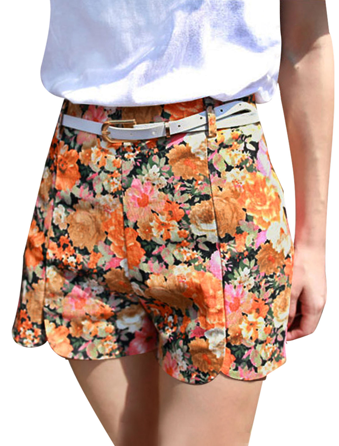 Ladies Elastic High Waist Floral Prints Mini Shorts w Belt Orange XS