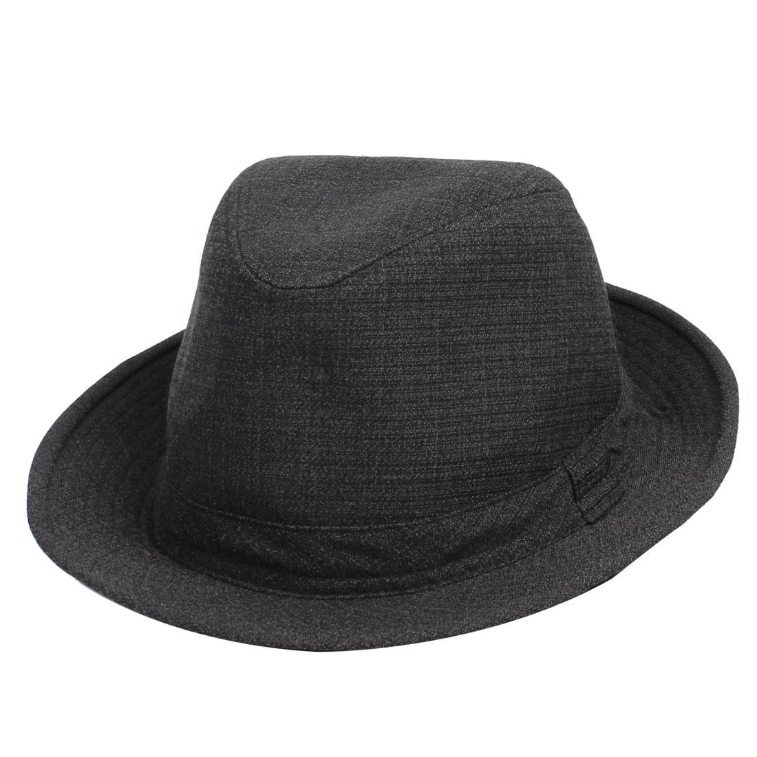 Men Woman Decoration Round Black Cotton Polyester Fedora Hat Cap