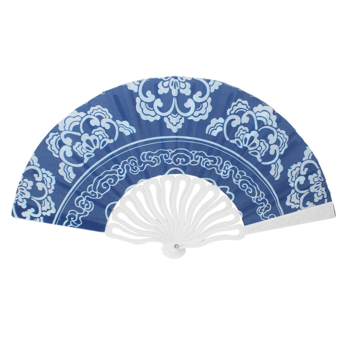 Plastic White Frame Flower Print Handheld Chinese Folding Fan Blue