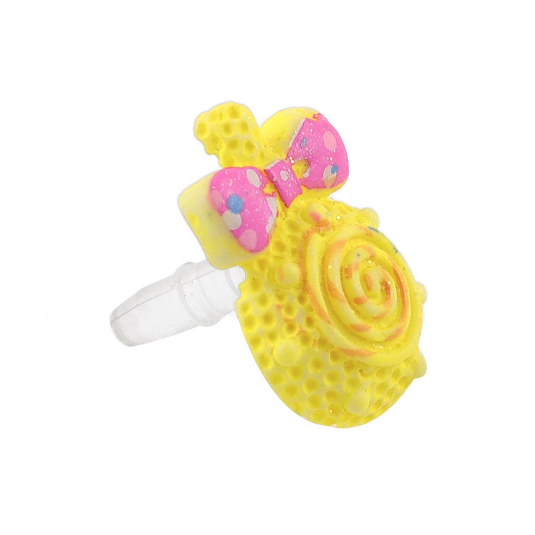 3.5mm Yellow Lollipop Glitter Powder Decor Dust Proof Earphone Jack for Phone
