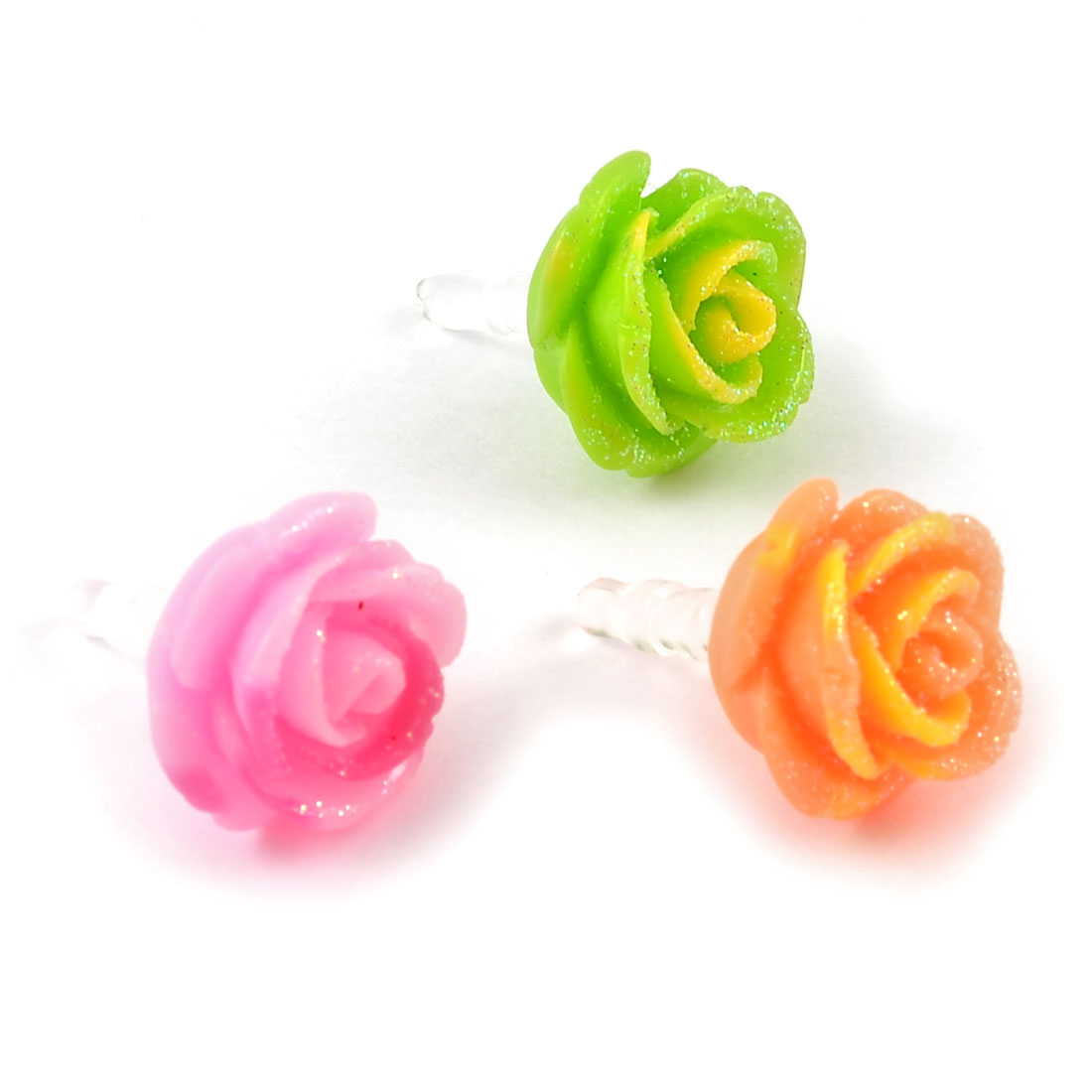 3 Pcs Assorted Color Rose 3.5mm Ear Caps Dust Stoppers for Cell Phone