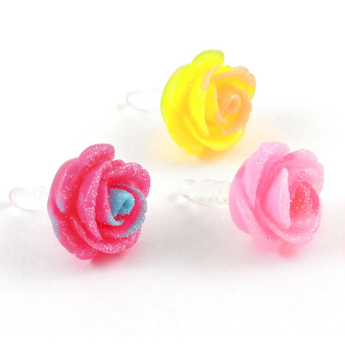 3 Pcs Tri Colors Plastic Rose Shaped 3.5mm Earphone Docks for Smartphone