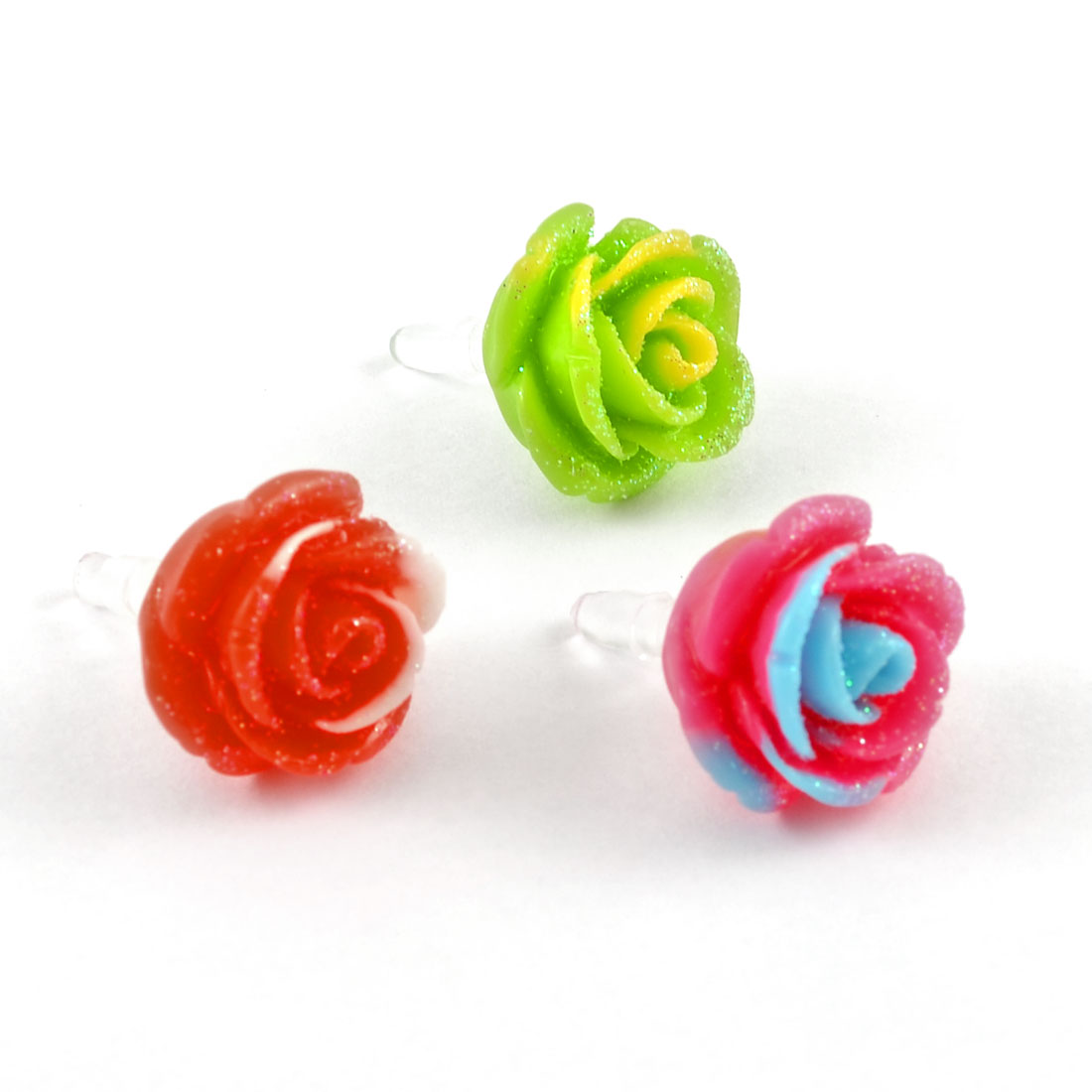 3 Pcs Assorted Color Rose Shaped 3.5mm Earphone Jacks Ear Caps for Phone