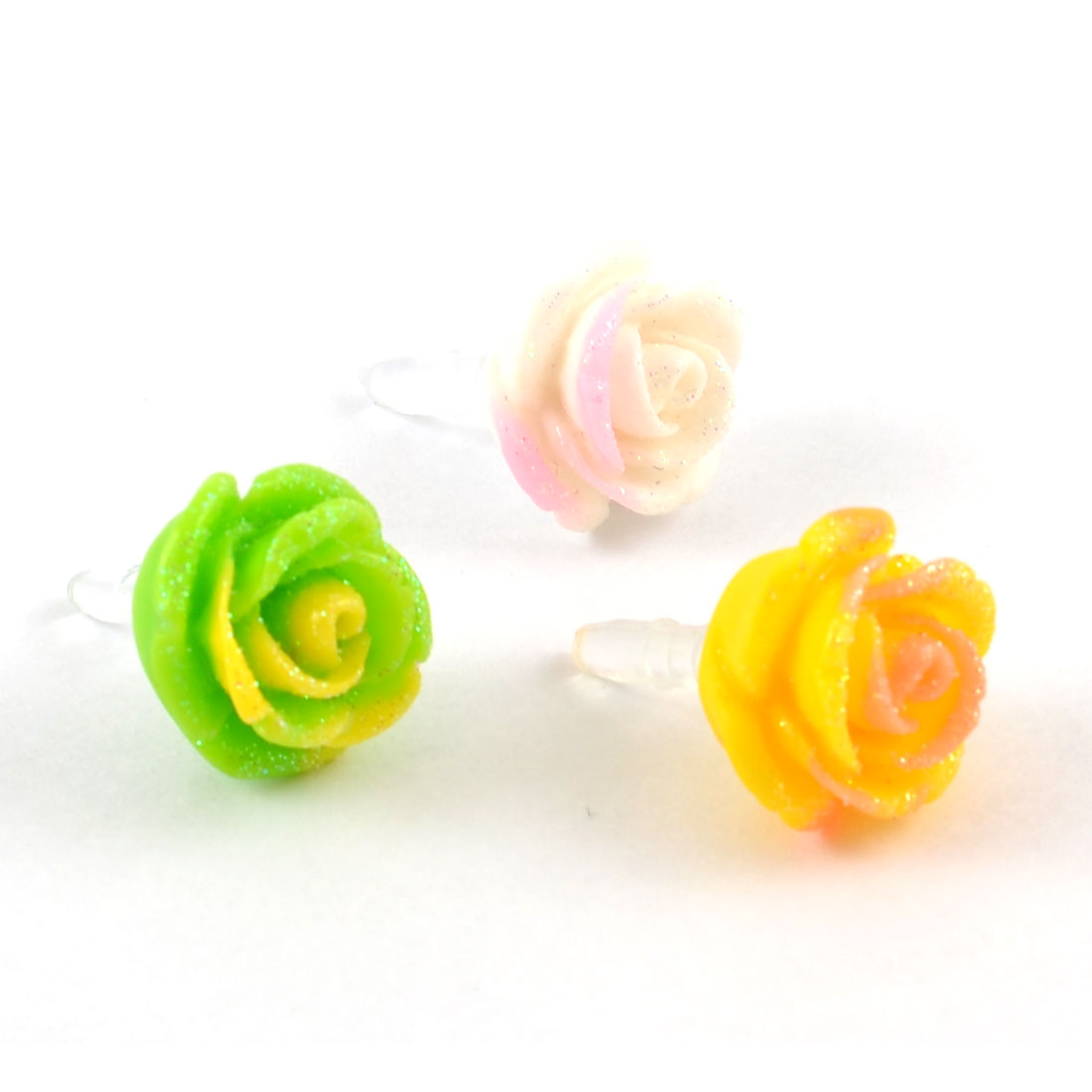 Cell Phone Assorted Color Rose Shaped 3.5mm Earphone Connector Stoppers 3pcs
