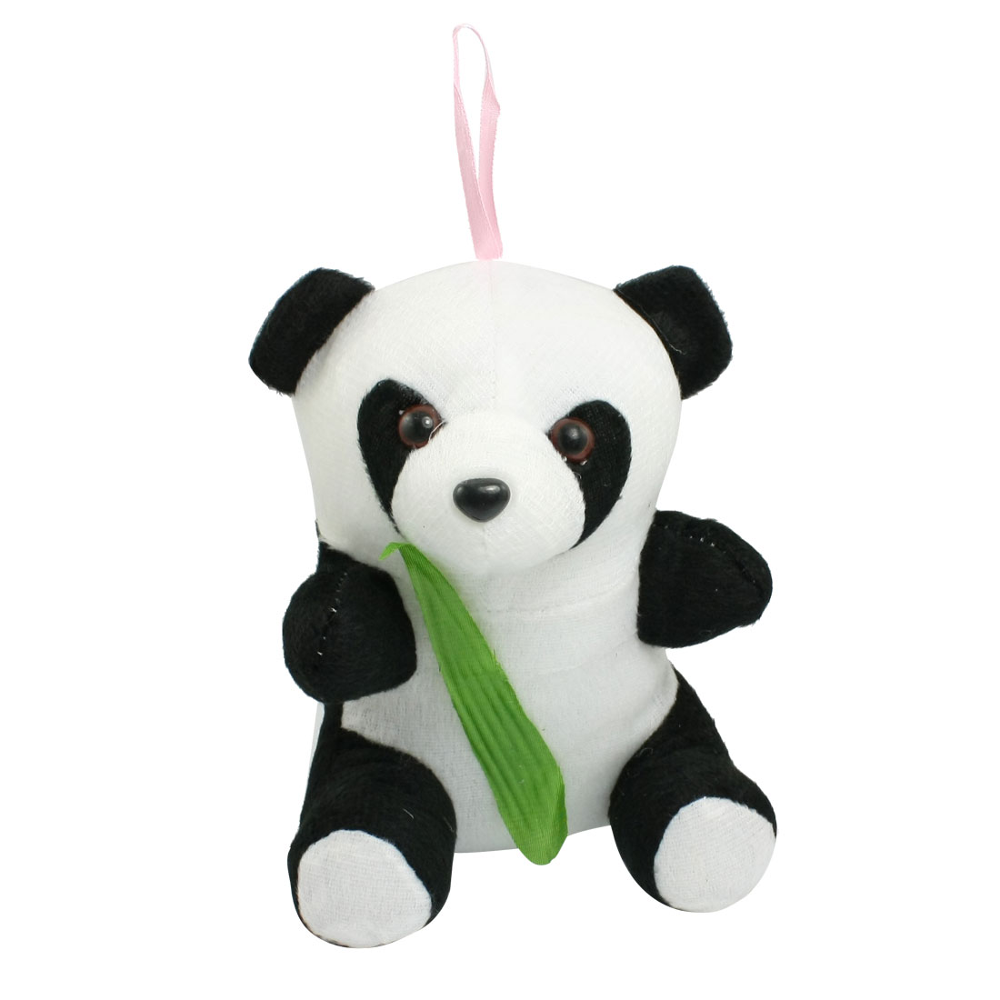 White Black Stuffed Cutton Green Leaf Decor Fleece Panda Doll Toy