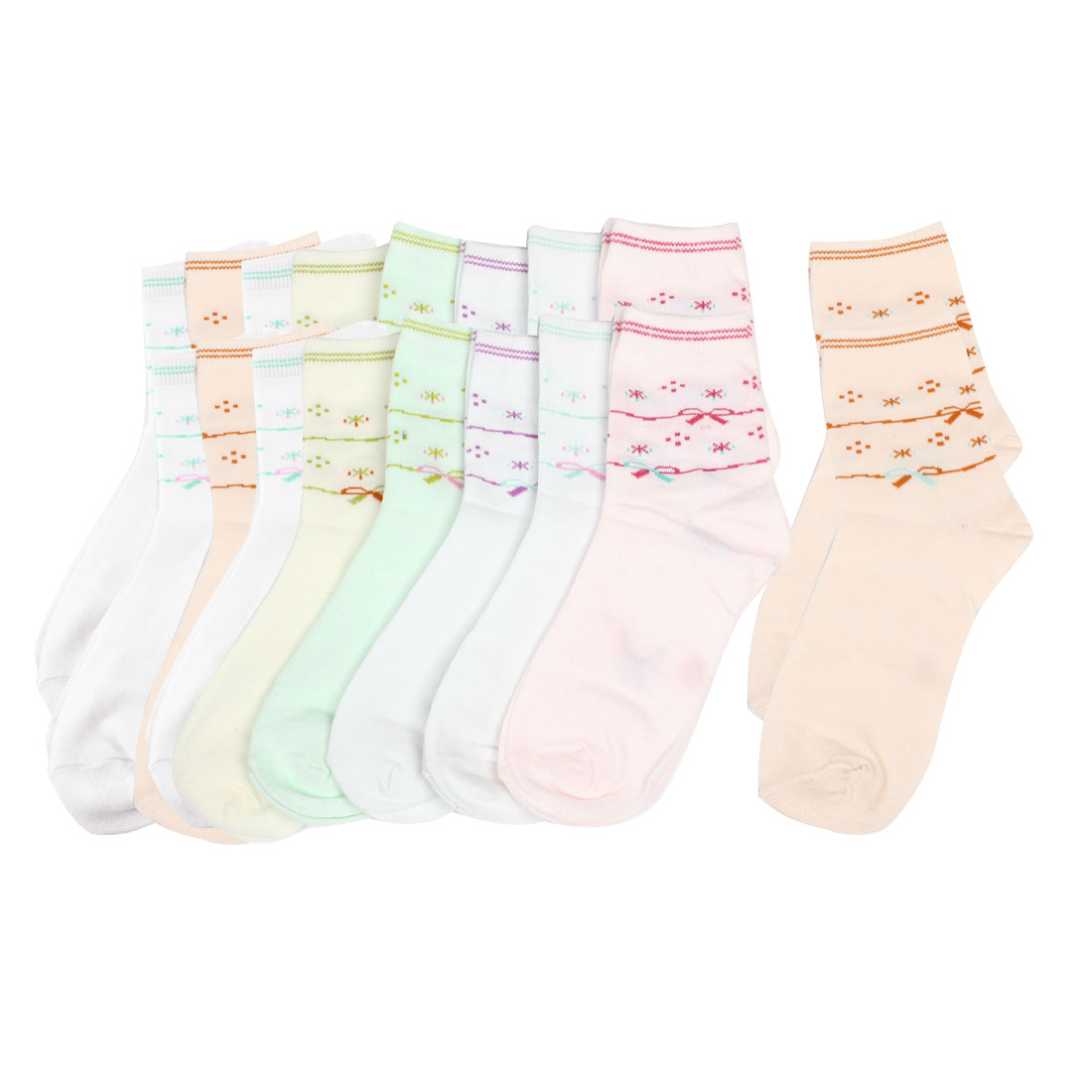 9 Pair Multicolor Bowknots Print Hosiery Ankle High Socks for Girls