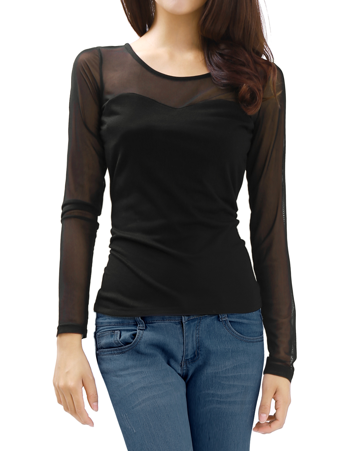 Lady Black Long Sleeve Mesh Panel Form-fitting Casual Top Shirt L