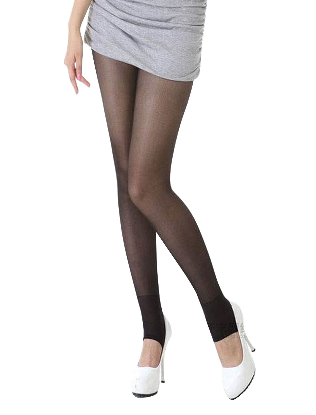 Ladies Thin Sheer Elastic Waist Stirrup Tights Leggings Pantyhose Black XS