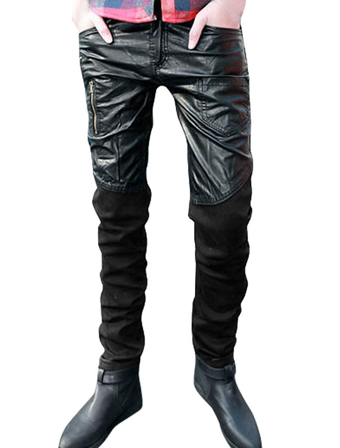 Men Zip Closure Waistband Loop Pockets Front Zip Decor Panel Denim Trousers Black W32