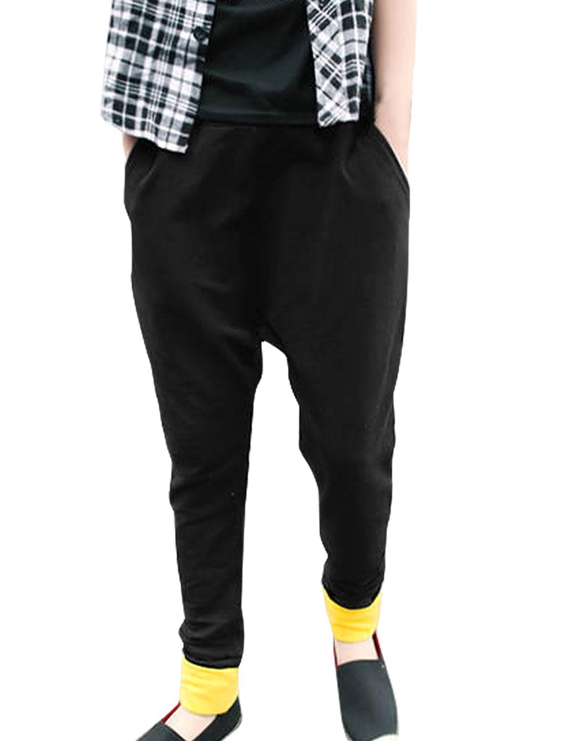 Mens Black Elastic Waist Slant Side Pockets Casual Stylish Trouser W28