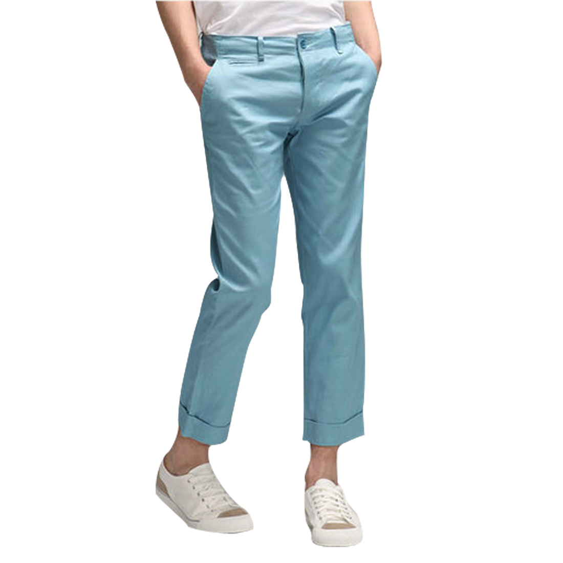 Mens Conceal Button Fly Slant Side Pocktes Sky Blue Cropped Trousers W31