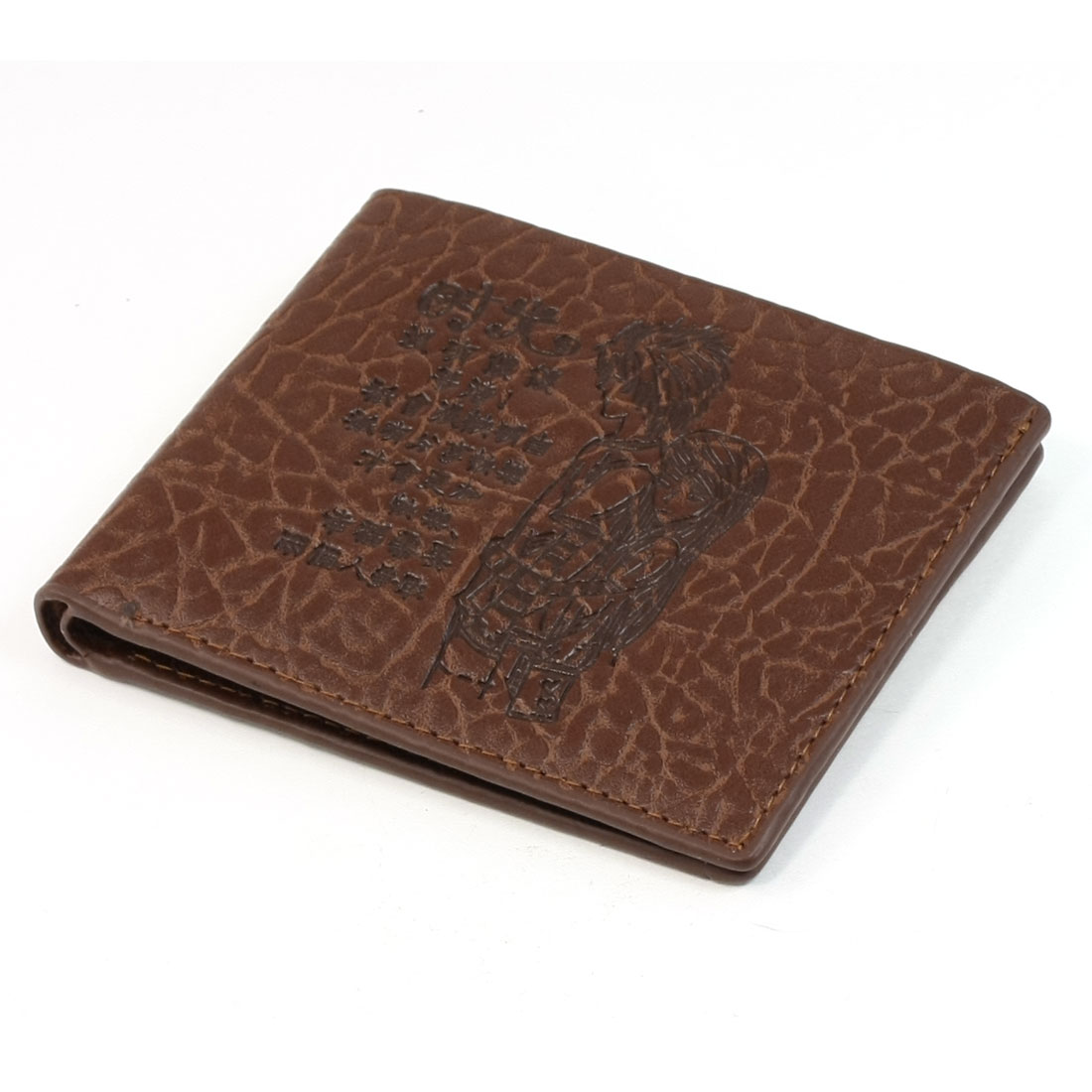 Coffee Color Textured Faux Leather Zip up Wallet for Man Men