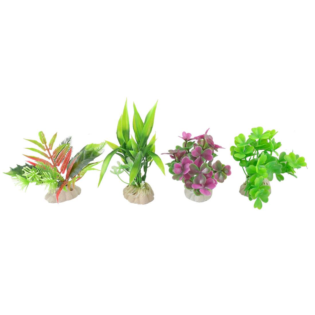 """4 in 1 Assorted Aquariums Fish Tank Plastic Water Plants Plants Green Purple 4.3"""""""