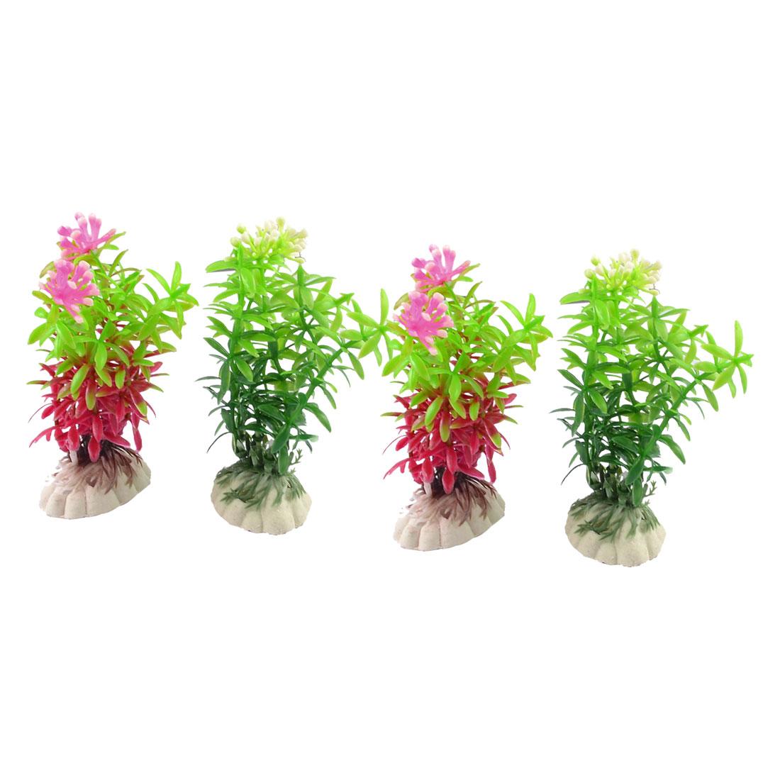 Aquariums Fish Tank Decoration Green Burgundy Aquatic Plastic Plants Grass 4 in 1