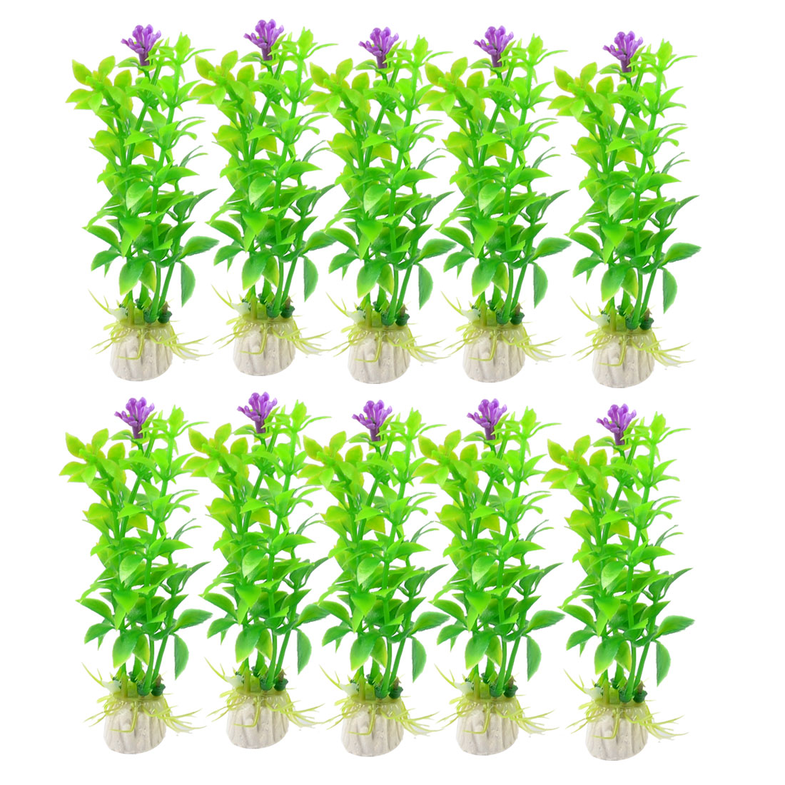 "10 Pcs Fish Tank Aquariums Green Light Purple Aquatic Floral Grass Ornament 3.5"" High"