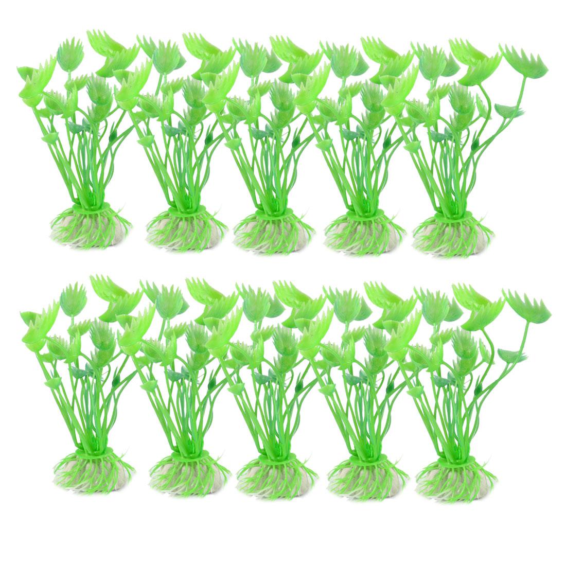 """10 Pcs 3.5"""" Height Plastic Aquatic Plants Grass Green for Aquarium Fish Tanks"""