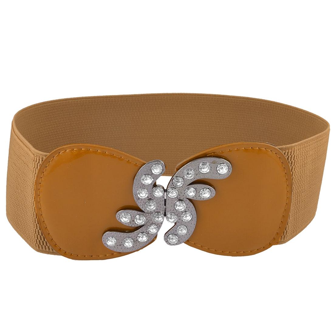 Lady Brown Gray Rhinestones Interlocking Buckle Faux Leather Cinch Waist Belt 7.5CM Wide