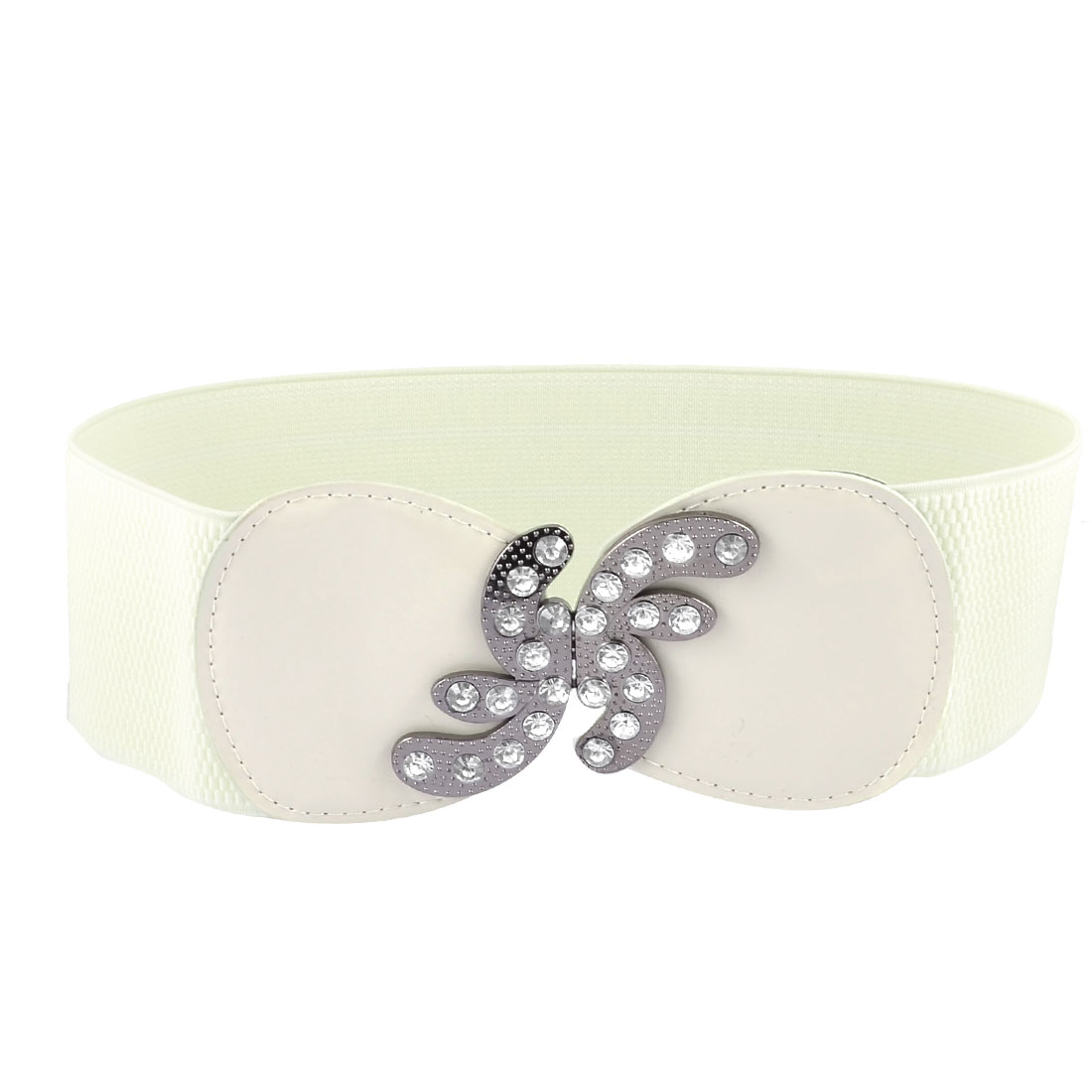 Women Glittery Rhinestones Interlocking Closure Elastic Waistband Cinch Belt Beige