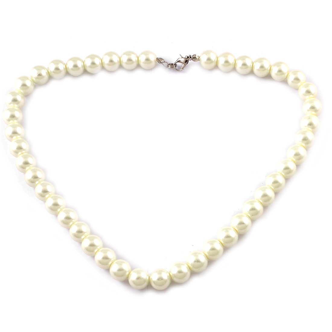 Off White Plastic Pearls Beaded Necklace Ideal Gift for Woman