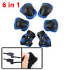 Bicycle Roller Blading Wrist Elbow Knee Support Protector Guards Pads Brace Blue Black 6 in 1 Set