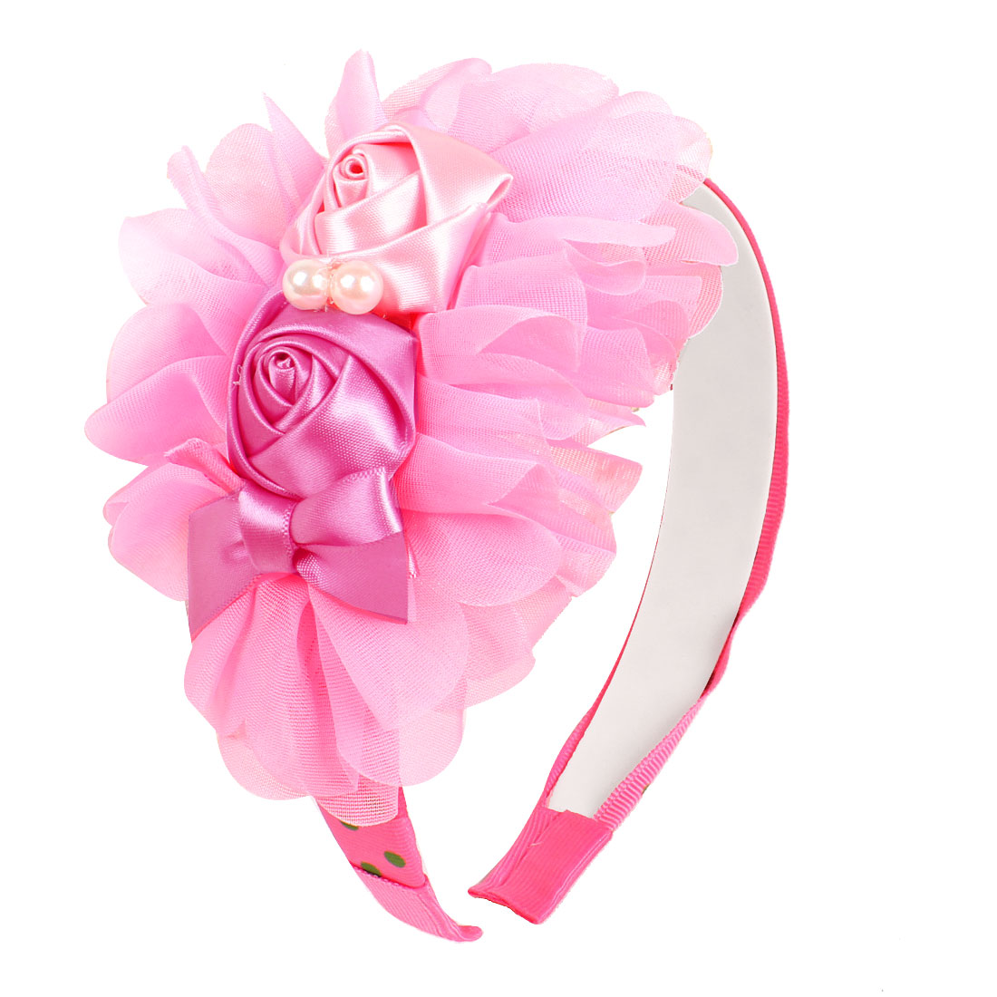 Pink Flower Fuchsia Polyester Ribbon Coated Hairhoop for Girls
