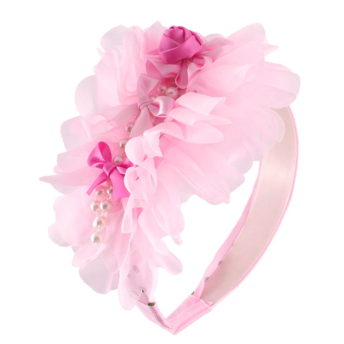 Light Pink Flower Polyester Ribbon Coated Hairhoop for Girls