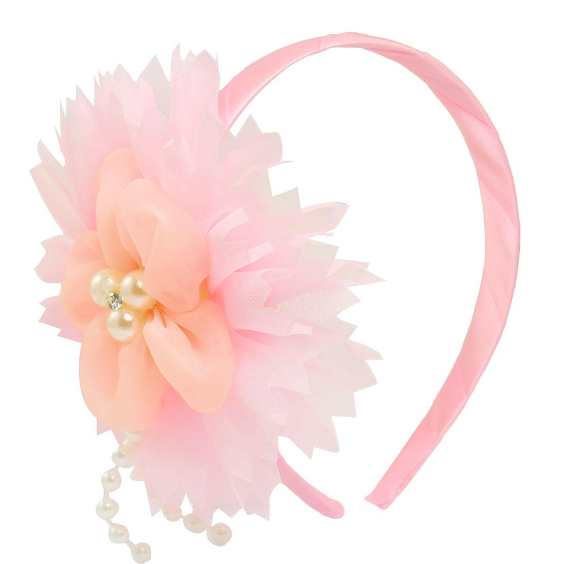 Girls Beaded Mesh Flower Accent Light Pink Hair Hoop Headband Gift