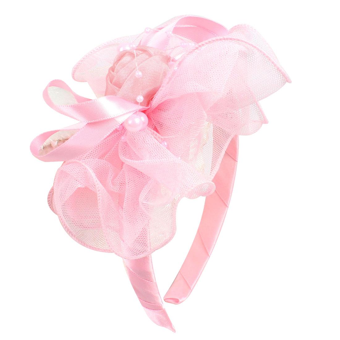 Girl Organza Rose Mesh Flower Light Pink Ribbon Coated Hair Hoop