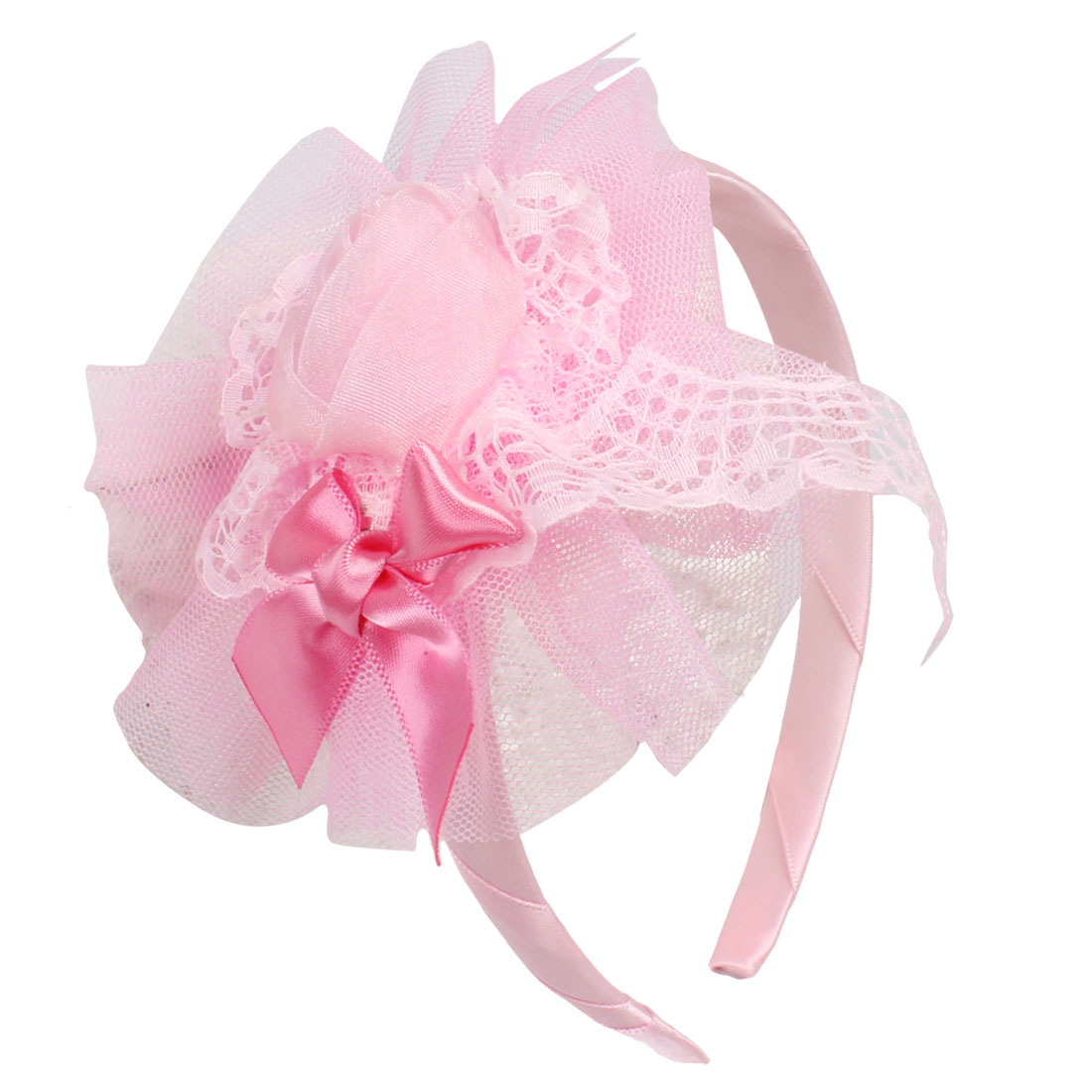 Light Organza Flower Decor Ribbon Coated Hairhoop for Girls