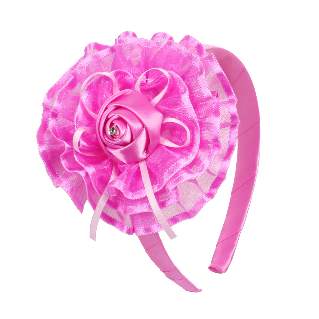 Fuchsia Layered Organza Flower Ribbon Coated Hairhoop for Girls