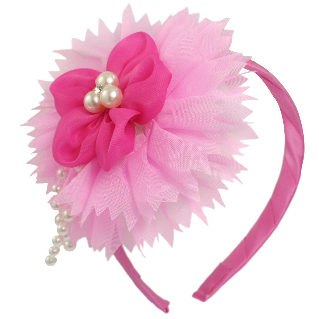 Plastic Beads Flower Decor Fuchsia Hair Hoop Headband for Girls