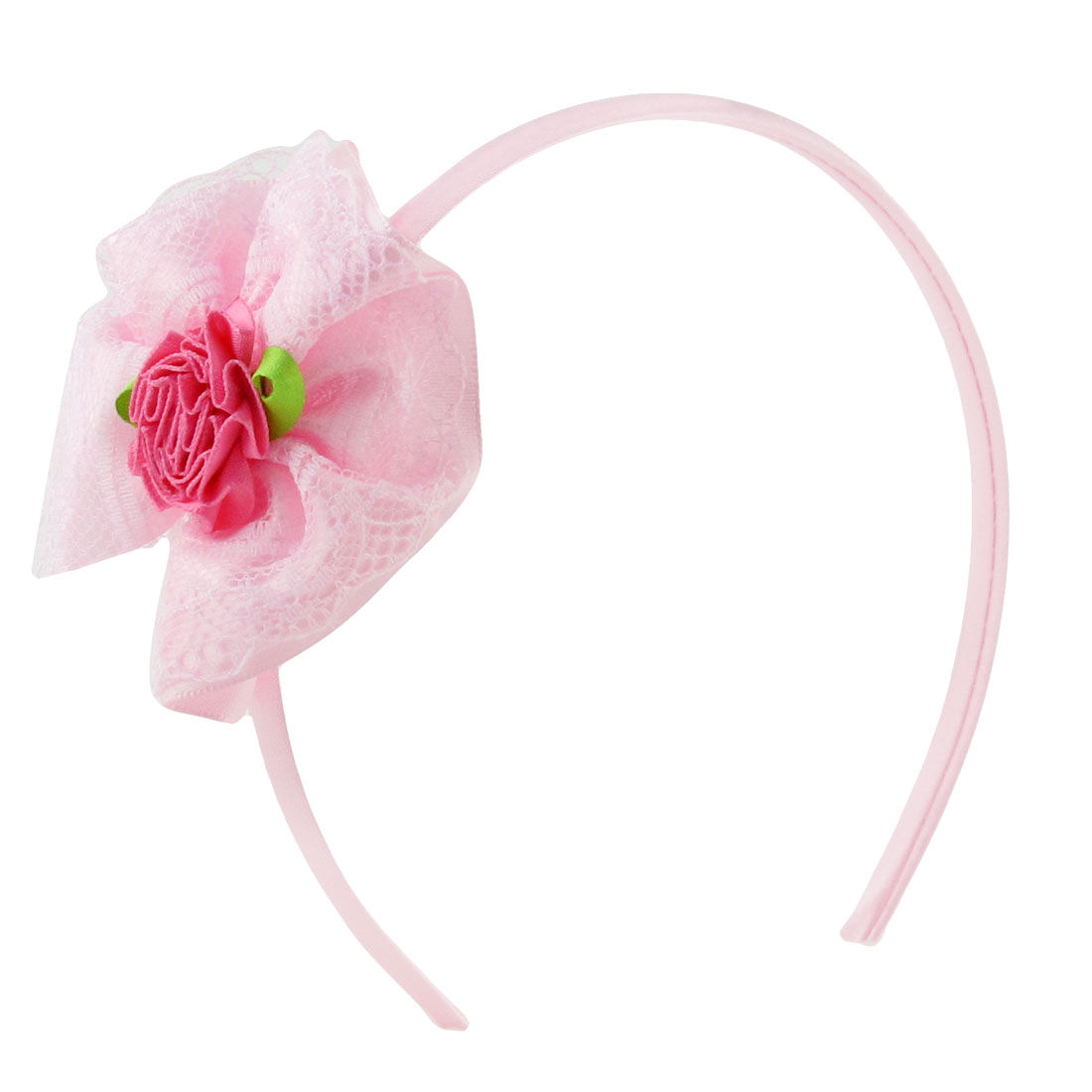 Girls Lace Flower Decor Light Pink Hair Hoop Hairband