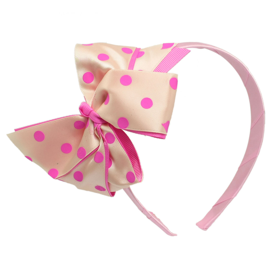 Dots Bowknot Decoration Hair Band Hoop Hairband Pink for Girls