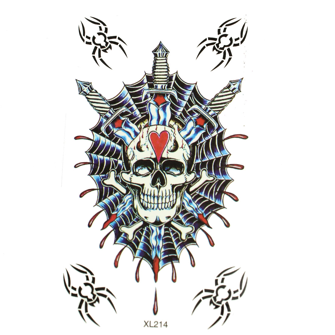Skull Spiders Print Transfer Tattoos Stickers Temporary Skin Beauty Decals 5 in 1