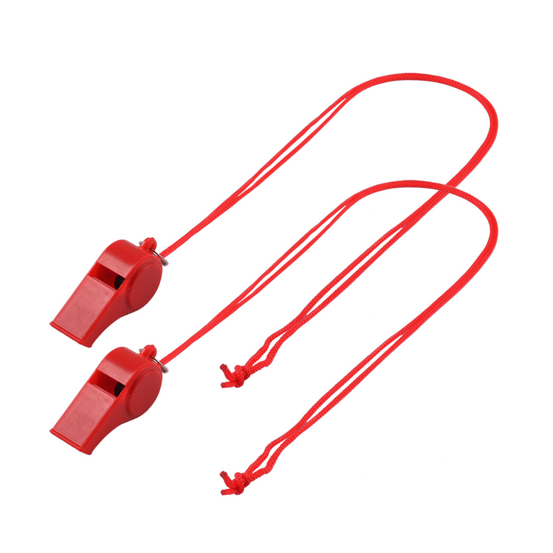 Outdoor Sports Match Neck String Red Plastic Referee Whistles 2PCS