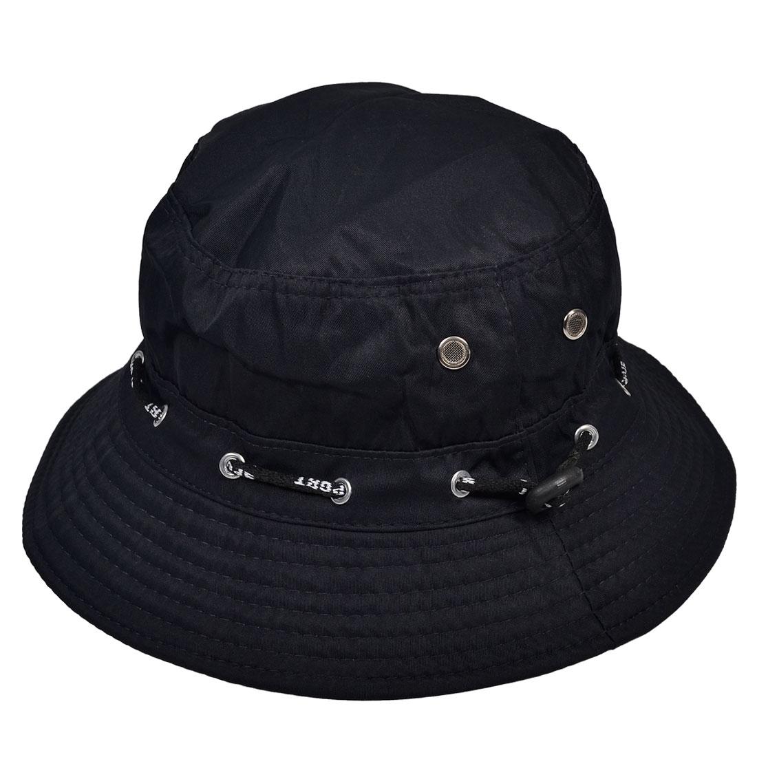 Dark Blue Stitching Brimmed Fabric Summer Beach Bucket Hat Cap for Woman Lady