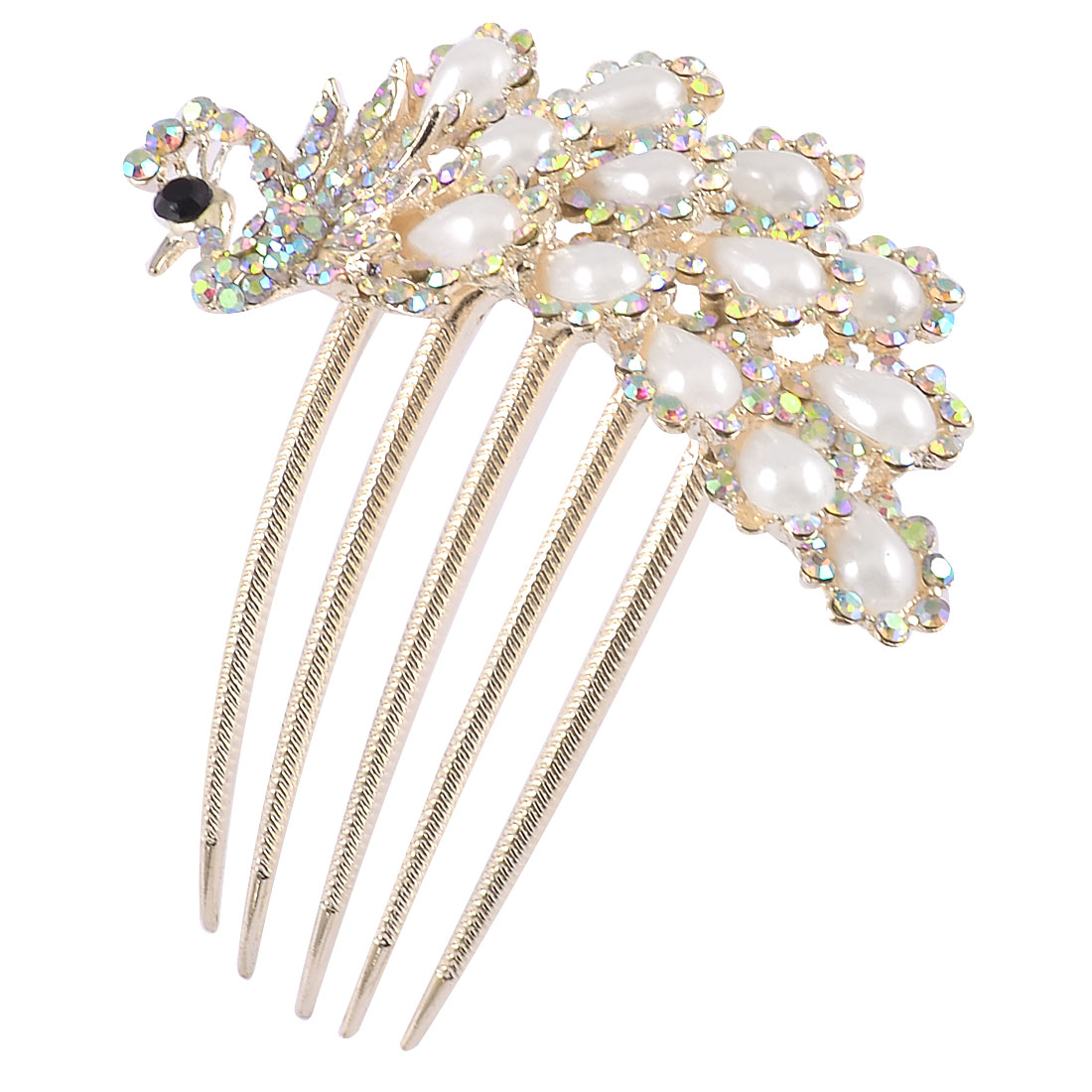 Lady Decorative Teardrop Imitation Pearl Peacock Metal Gold Tone Prong Comb Hair Clip