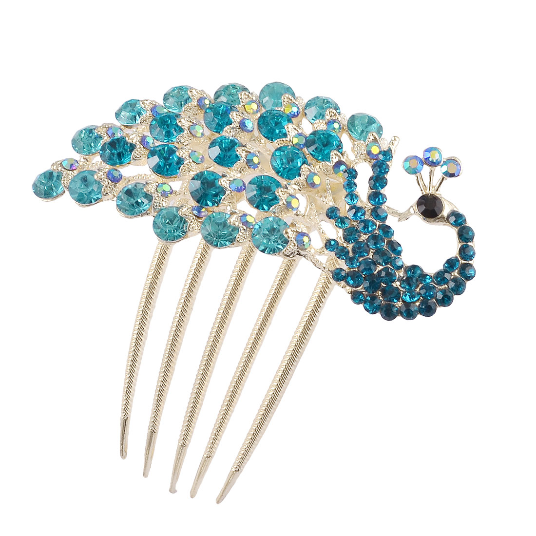 Women Teal Glistening Rhinestones Peacock Gold Tone Prong Hair Comb Clip Clamp