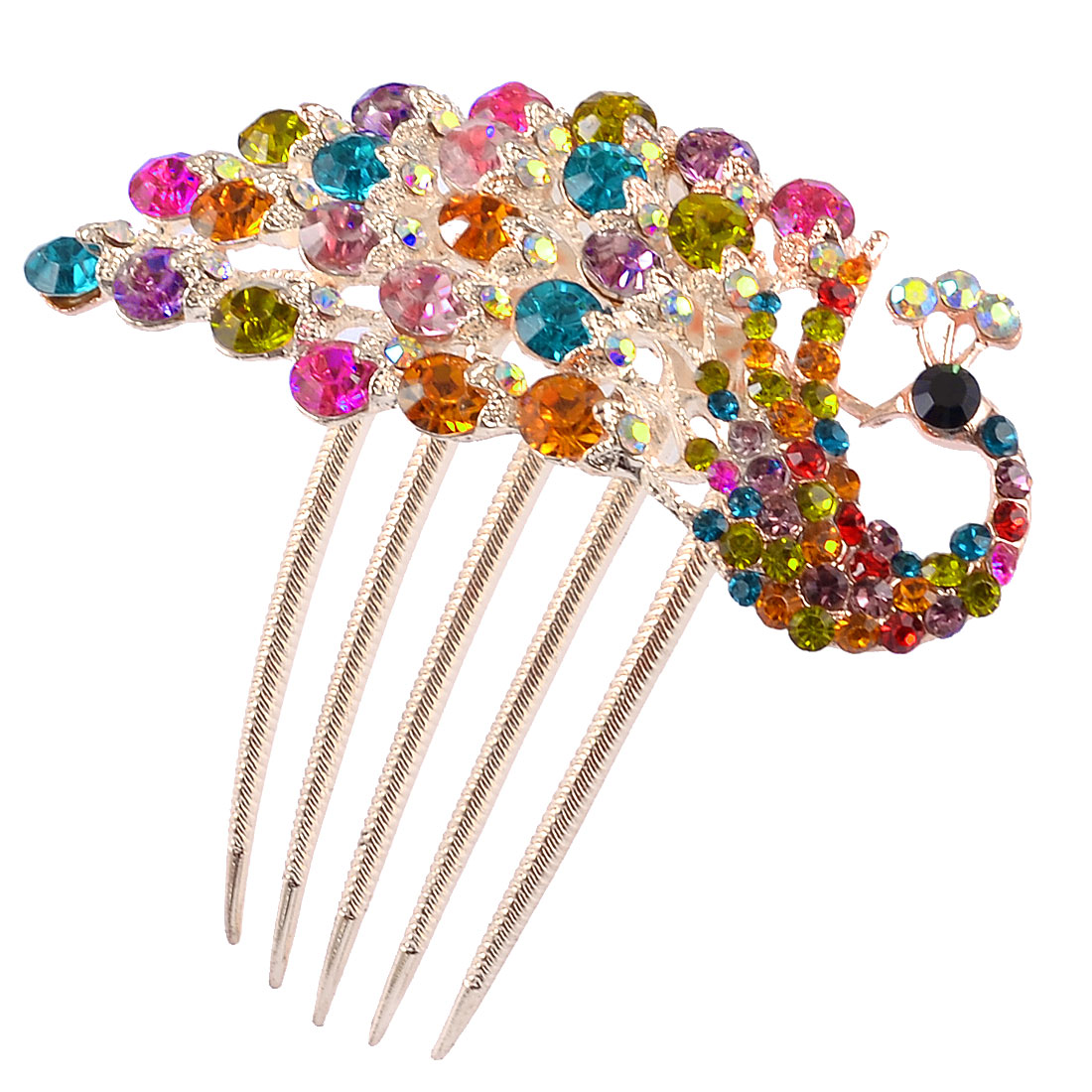 Colorful Bling Rhinestones Peacock Gold Tone Metal Prong Hair Comb Claw for Lady